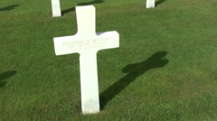 White cross grave in the Henri-Chapelle American Cemetery & Memorial, Belgium. Stock Footage