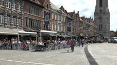 Cafes and restaurants in Grand Place, Tournai, Wallonia, Belgium. Stock Footage