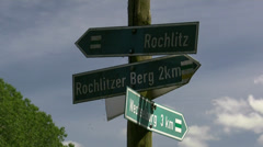 Road Sign near Rochlitzer Berg - Saxony, Central Germany Stock Footage