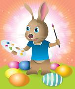 easter bunny decorating easter eggs - stock illustration