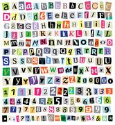 vector ransom note- cut paper letters, numbers, symbols - stock illustration