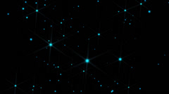 Movement, flight glittering stars on bokeh background Stock Footage
