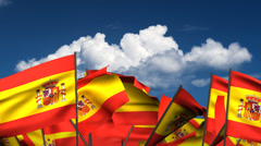 Waving Spanish Flags Stock Footage