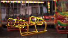 Children chain carousel attraction Stock Footage