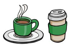 Coffee cups illustration - stock illustration