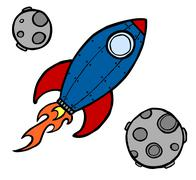 Rocket and moons illustration - stock illustration