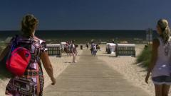Beautiful Karlshagen Beach on Usedom Island - Baltic Sea, Northern Germany. Stock Footage