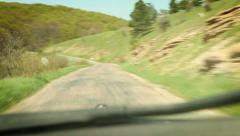 Rally Racing car inside windshield view Stock Footage