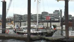 Port of Hamburg -Tracking shot to harbor 4 Stock Footage