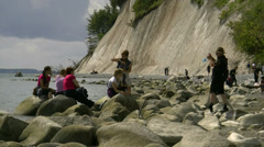 Tourists near Chalk Cliffs on Rügen Island - Baltic Sea, Northern Germany Stock Footage