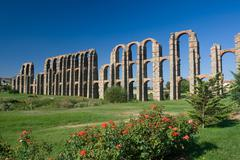 the aqueduct of the miracles of merida - emerita augusta - stock photo