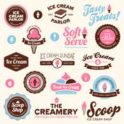 Ice cream shop labels - stock illustration