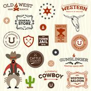 Old western designs Stock Illustration