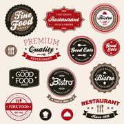 Vintage restaurant labels Stock Illustration
