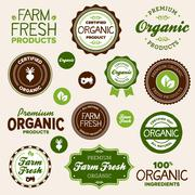Organic food labels Stock Illustration