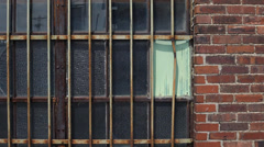 Brick Wall and Iron Bars Stock Footage