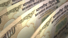 Indian Rupee Close-up Stock Footage