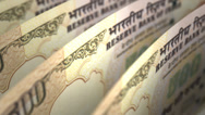 Stock Video Footage of Indian Rupee Close-up