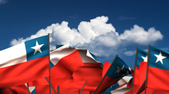 Waving Chilean Flags Stock Footage