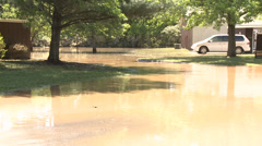 Flooded subdivision Stock Footage
