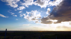 Blue Sky Cloud Sunset Windmills Time Lapse Dolly - stock footage