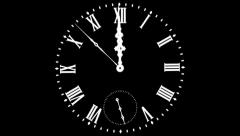 Transparent Clock - Midnight - Alpha Stock Footage