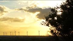 Orange Sky Cloud Sunset Windmills Time Lapse Dolly Stock Footage