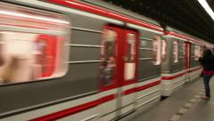 0254 Prague. Metro train in motion. European metro transit vehicle in st Stock Footage