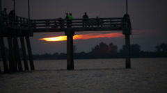 Sunset Pier and Boat Stock Footage