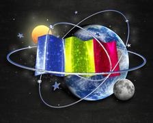 Flag Chad quality designer flag - stock illustration