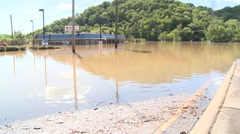 Flooded gas station Stock Footage