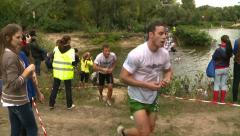 Stock Video Footage of The participants of the race of survival overcome obstacles near Kiev