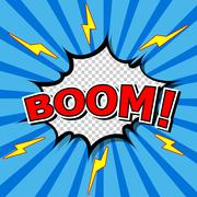 Boom! Comic Speech Bubble, Cartoon - stock illustration