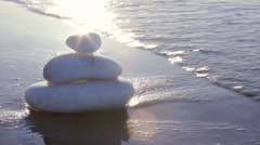 Marble stones in Zen style and sea waves background Stock Footage