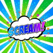 Scream! Comic Speech Bubble, Cartoon - stock illustration