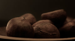 Chestnuts background tracking shot Stock Footage