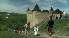 The participants of the international historical festival in the town of Khotyn. Stock Footage