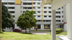 SINGAPORE PUBLIC HOUSING, HDB. (SINGAPORE LOW COST HOUSING HDB--3a) Stock Footage