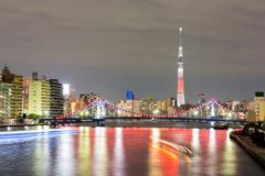 Tokyo skytree at night Stock Photos