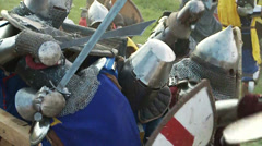 Medieval knights fighting with swords. Stock Footage