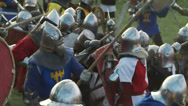 Stock Video Footage of Medieval knights fighting with swords.