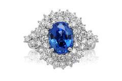 blue gemstone ring - stock photo