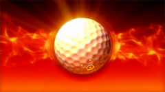 Golf Ball On Fire Loop Stock Footage