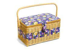 Wicker basket casket on white background Stock Photos