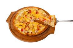 Wooden tray appetizing pizza cheese isolated on white background Stock Photos