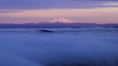 Portland OR City with Rolling Fog with Mount Hood at Sunset Time Lapse Stock Footage