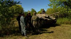 German tank in sun - stock footage