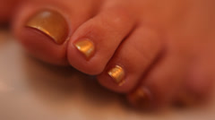 Gold Toe Nails Pedicure Stock Footage