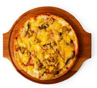 Appetizing mushrooms pizza cheese wooden tray isolated on whi Stock Photos