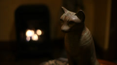 Cat Statue Egyptian Moving Light Stock Footage